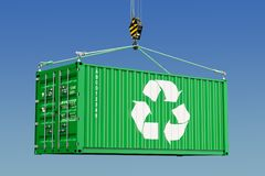 Cargo container with recycling logotype concept. 3D rendering. Cargo container with recycling logotype concept. 3D Royalty Free Stock Image