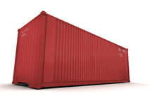 Cargo container red. Red cargo container against a white background Royalty Free Stock Photo