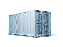 Cargo container, render with wireframe lines isolated on white Royalty Free Stock Images