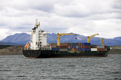 Cargo container ship. On the sea Stock Image