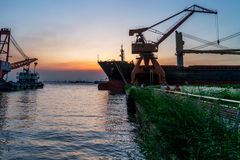 Cargo container ship at harbor Royalty Free Stock Photos