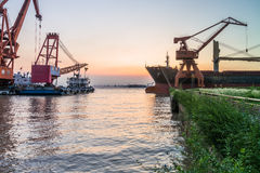 Cargo container ship at harbor Royalty Free Stock Photography