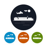 Cargo container ship icon, vector illustration Stock Image