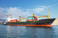 Cargo container ship in ocean Stock Photo