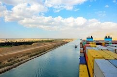 Free Cargo Container Ship Transiting Suez Canal. Stock Image - 214580311