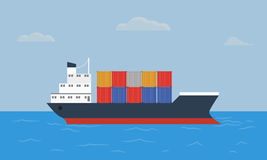 Cargo container ship transports containers at the blue ocean. Flat and solid color style vector illustration Royalty Free Stock Photography