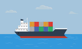 Cargo container ship transports containers at the blue ocean. Flat and solid color style vector illustration Royalty Free Stock Image