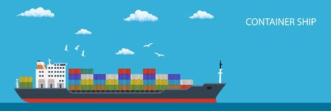 Cargo container ship transports containers. At the blue ocean. vector illustration in flat design Stock Photography