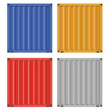 Cargo container for shipping with flat solid color design Stock Photos