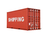 Cargo container with shipping text isolated on white Stock Images