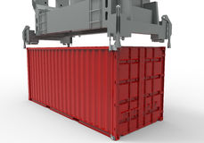 Cargo container stacking equipment. 3D rendered illustration of a cargo container stacking equipment. The composition is isolated on a white background with Stock Images