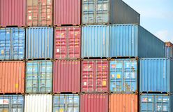 Cargo container stacks in Inland container terminal Royalty Free Stock Photography