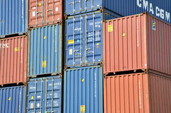 Cargo container stacks in Inland container terminal Stock Images