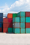 Cargo container on a storage site Royalty Free Stock Images