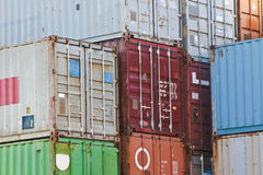 Cargo Container Storage. These stacked cargo containers are being used for storage Stock Image