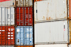 Cargo Container Storage Stacks. These stacked cargo containers are being used for storage Royalty Free Stock Image