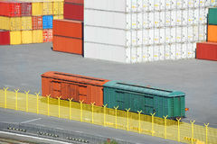 Cargo container and train in port Stock Photos