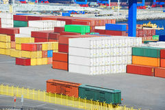 Cargo container and train in port Stock Image
