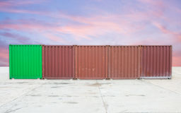 Cargo container on twilight Royalty Free Stock Photo