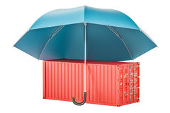 Cargo container under umbrella, insurance and protect delivery c Stock Images