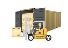 Cargo container vector. Forklift working with cargo container and product carton box isolate on white background for shipping and transportation concept stock illustration