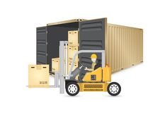 Cargo container vector. Forklift working with cargo container and product carton box isolate on white background for shipping and transportation concept royalty free illustration