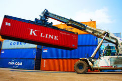 Cargo container at Viet nam freight depot Stock Photo