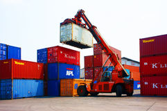 Cargo container, Vietnam freight depot Stock Images