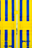 Cargo container in yellow and blue Royalty Free Stock Image