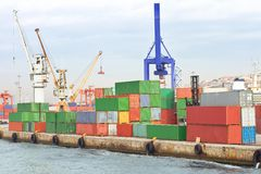 Cargo Containers. Quayside with cargo containers from the water Royalty Free Stock Image