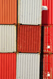 Cargo Containers. Red and white containers at the harbor (free from text and numbers Royalty Free Stock Photo