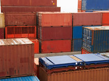 Cargo containers. Stack of multicolor cargo containers stock photos