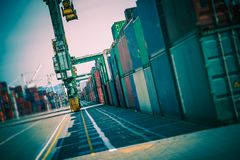 Cargo Containers Alley Stock Photo