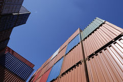 Cargo containers and blue sky Royalty Free Stock Images