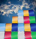 Cargo containers and  blue sky background. Cargo containers with  blue sky background Royalty Free Stock Photos