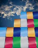 Cargo containers and  blue sky background. Cargo containers with  blue sky background Stock Photos