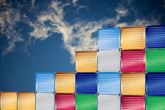 Cargo containers and  blue sky background. Cargo containers with  blue sky background Royalty Free Stock Photography