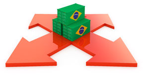 Cargo containers from Brazil Stock Photo