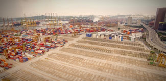 Cargo containers at commercial dock Royalty Free Stock Photography