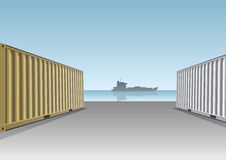 Cargo Containers at a dock. Vector illustration Royalty Free Stock Image