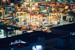 Cargo containers in harbor Royalty Free Stock Photo
