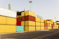 Cargo containers at harbor Royalty Free Stock Photography