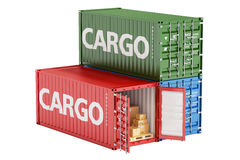 Cargo containers with parcels, 3D rendering Royalty Free Stock Images