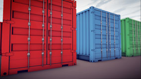 Cargo containers in row. 3d rendering of cargo containers in row Royalty Free Stock Image