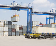 Cargo containers in shipping yard Royalty Free Stock Photography