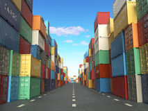 Cargo containers in shipping yard. Delivery shipping logistic im Royalty Free Stock Photography