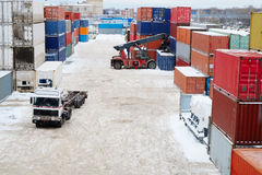 Cargo containers in shipping yard. For transportation, import,export, logistic. winter royalty free stock images