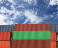 Cargo containers stack in sea port. Stock Photo