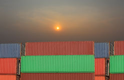 Cargo containers stack in sea port. Royalty Free Stock Photo