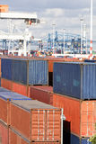 Cargo containers stacked at harbor Stock Image